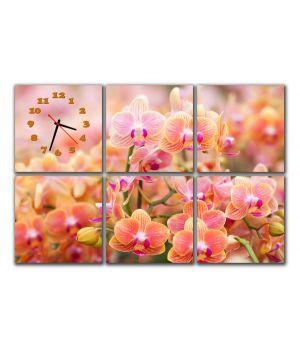 Модульные настенные часы Чудесные орхидеи