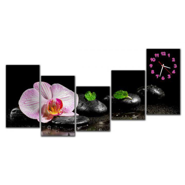Модульные настенные часы Нежный цветок