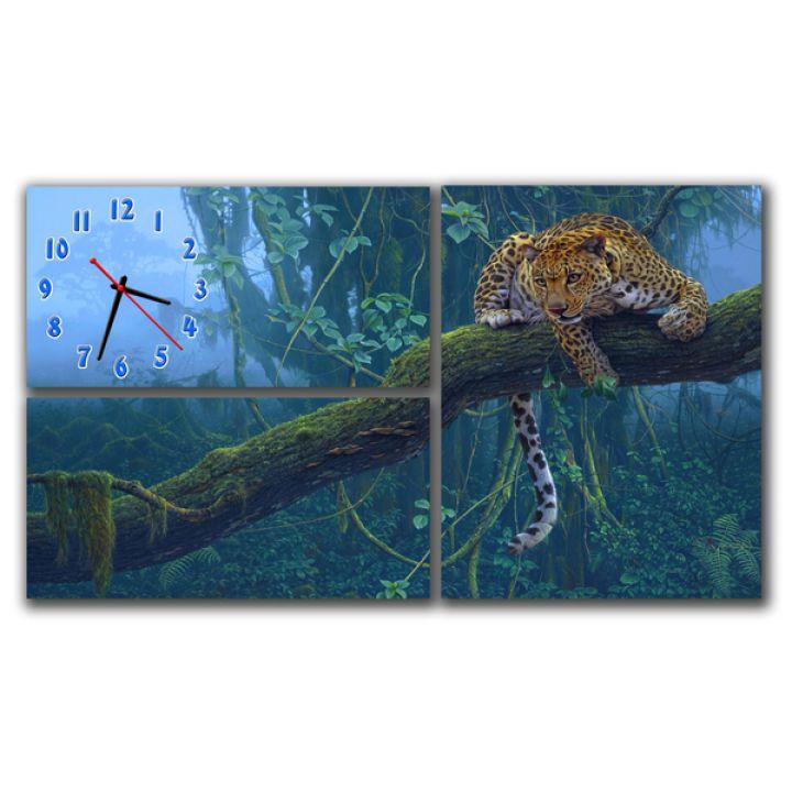 Модульний настінний годинник Леопард на дереві