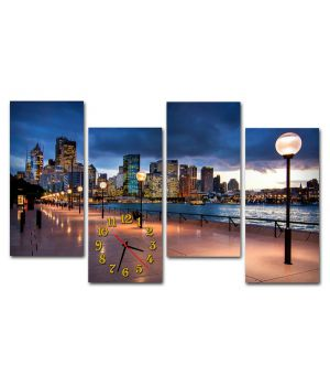 Модульные настенные часы Вечер в мегаполисе