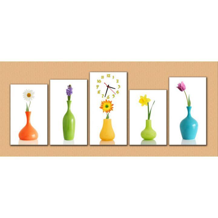 Модульные настенные часы Цветы в вазочках