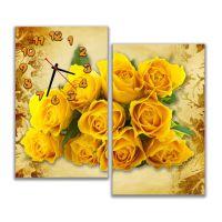 Модульний настінний годинник Яскравий букет троянд