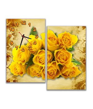 Модульные настенные часы Яркий букет роз