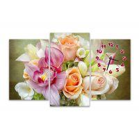 Модульные картины с часами Букет нежных цветов
