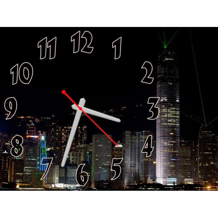 Годинник Нічний Мегаполіс, 30х40 см