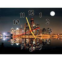 Часы Полнолуние в Мегаполисе, 30х40 см