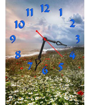 Часы Маково-ромашковое Поле, 30х40 см