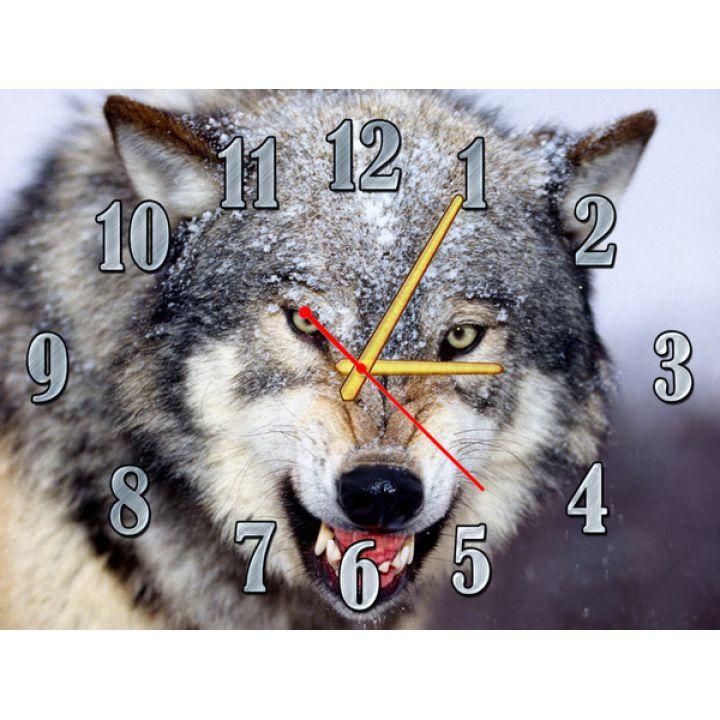 Часы Волк, 30х40 см