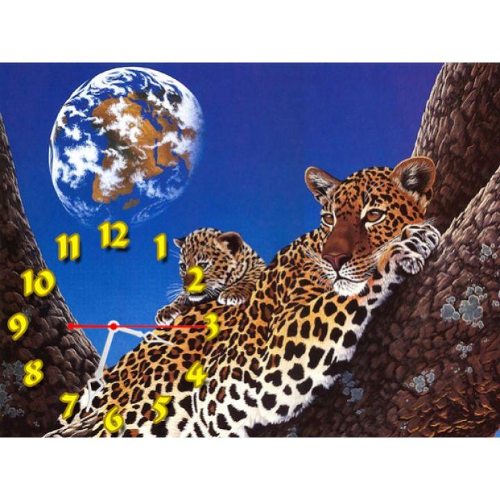 Часы Леопарды, 30х40 см
