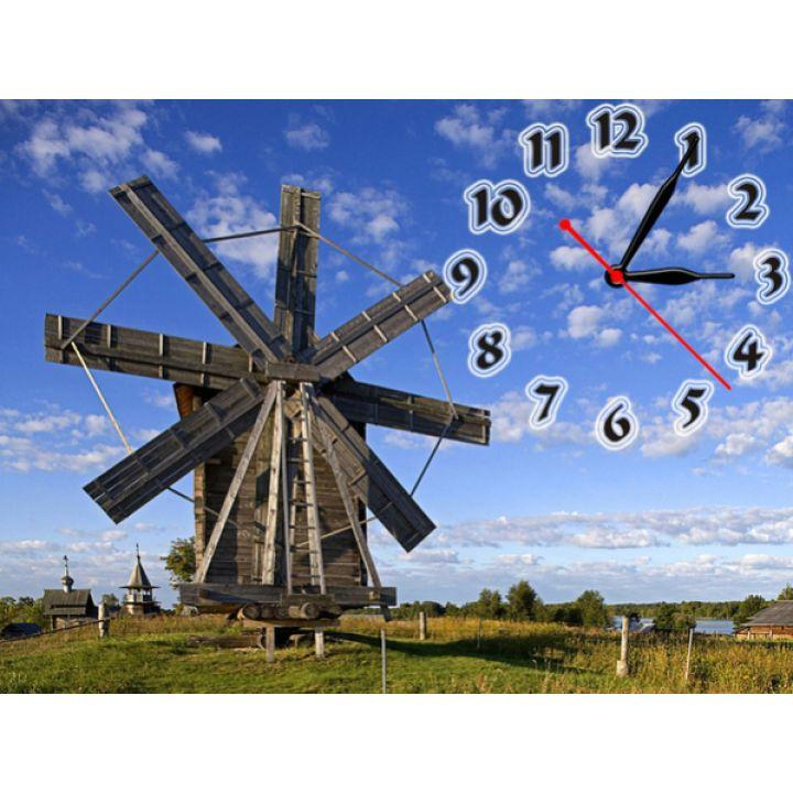 Часы Мельница, 30х40 см