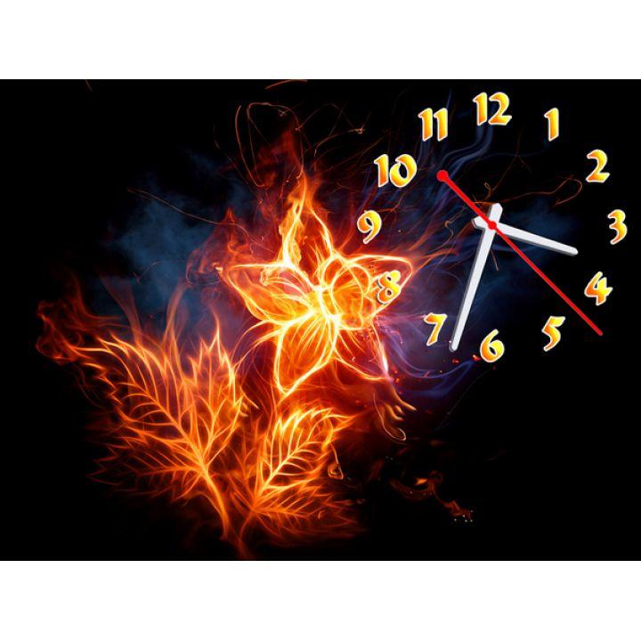 Часы Огненный Цветок, 30х40 см