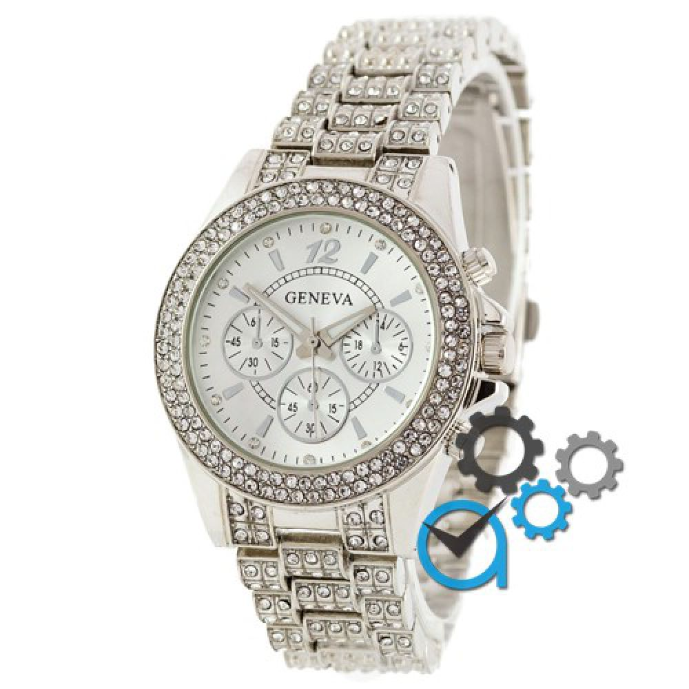 55e605f6d641 Оригинальные женские часы Geneva Kors Edition Full Pave Silver-White ...