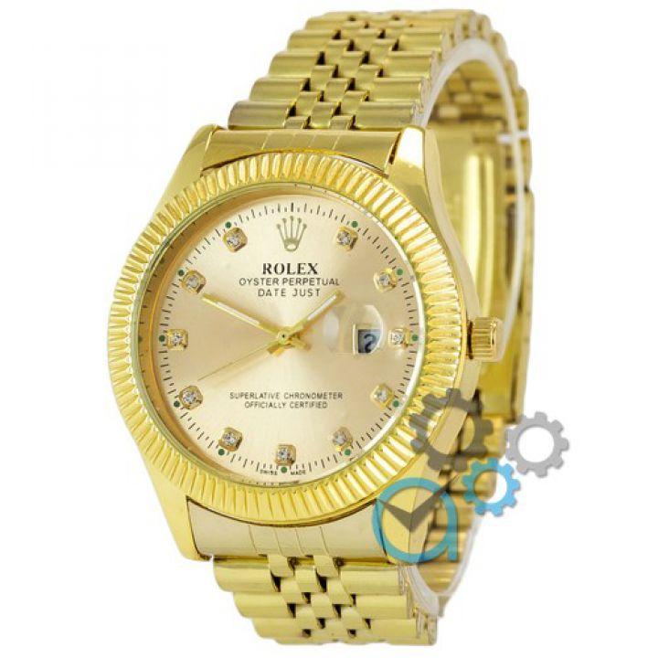 Мужские наручные часы Rolex Date Just Diamonds All Gold