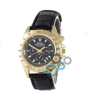 Rolex Cosmograph Daytona Quartz Leather Black-Gold-Black