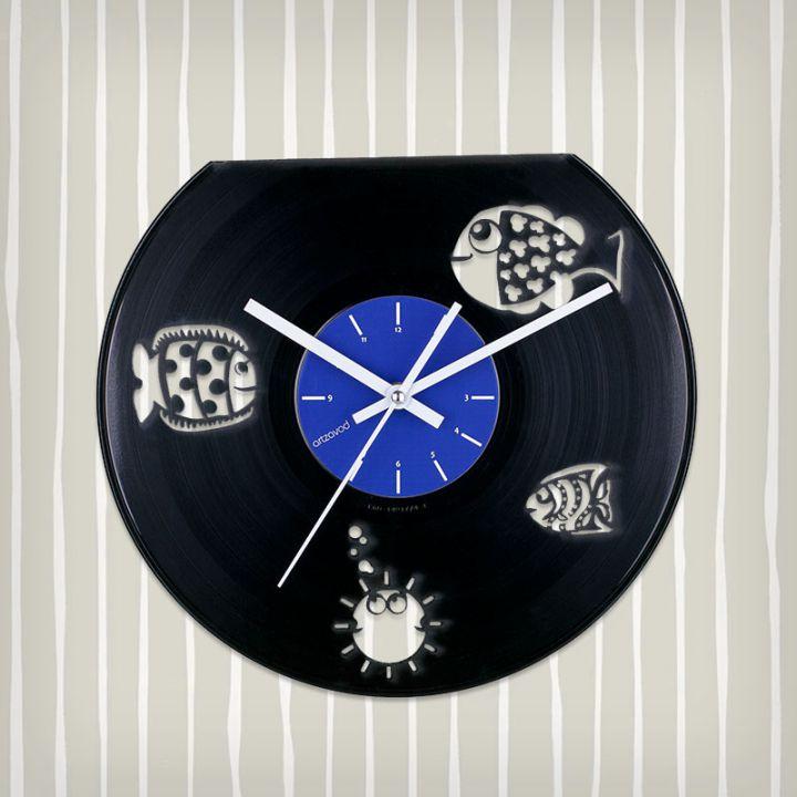 Виниловые часы Рыбки