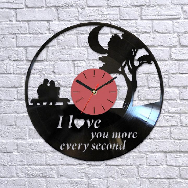 Виниловые часы Я тебя люблю