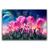 Настінний годинник Рожеві тюльпани, 30х45 см