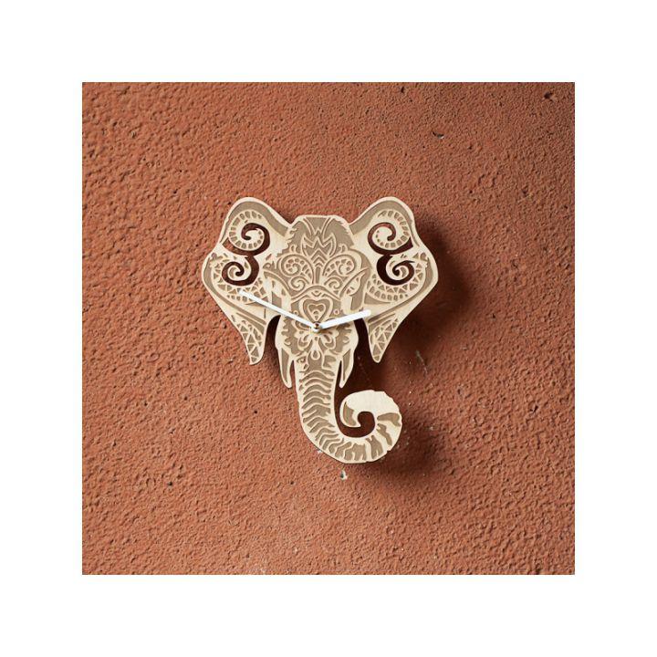 Деревянные настенные часы Индийский слон