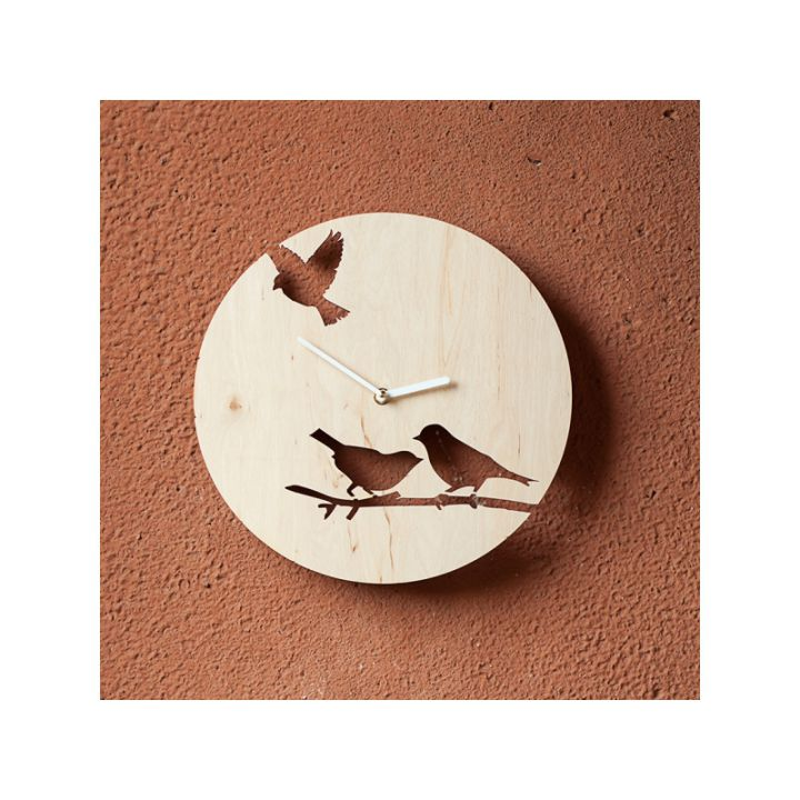 Деревянные настенные часы Птички