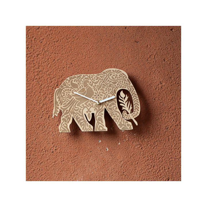 Деревянные настенные часы Слон