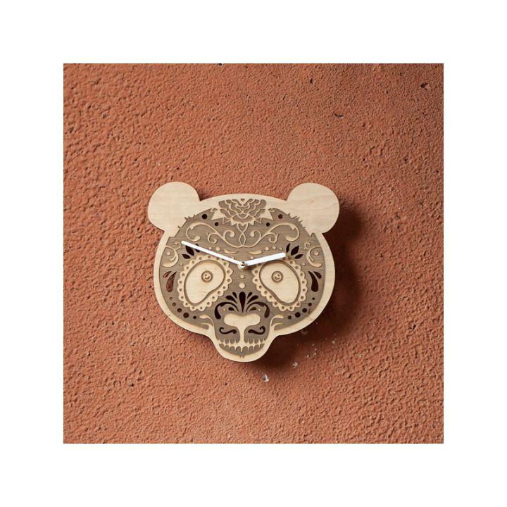 Деревянные настенные часы Медведь
