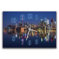 Настенные часы в зал Огни ночного города, 30х45 см