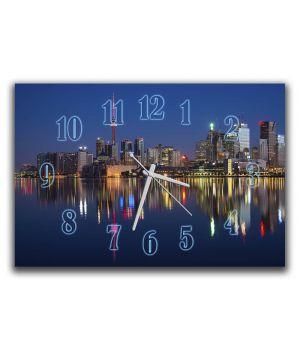 Настінний годинник в зал Вогні нічного міста, 30х45 см