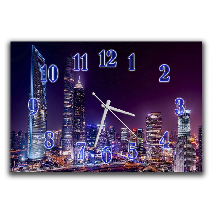 Настенные часы в зал Огни мегаполиса, 30х45 см