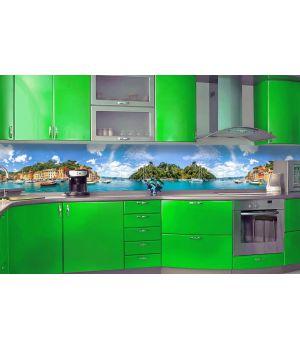 Виниловая наклейка фартук-скинали на кухню Природа 600 х 2500 мм зеленый