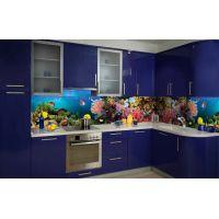 Вінілова наклейка фартук-скінали на кухню Акваріум 600 х 2500 мм синій