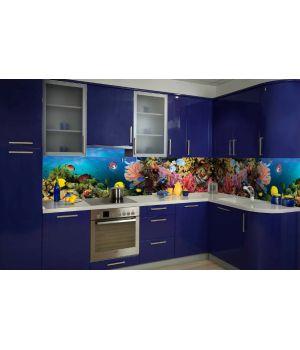 Виниловая наклейка фартук-скинали на кухню Аквариум 600 х 2500 мм синий