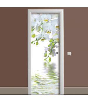Наклейка на дверь Орхидея над водой 65х200 см