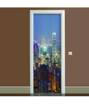 Наклейка на дверь Ночной город, 65х200 см