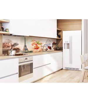 Виниловая наклейка фартук-скинали на кухню Сладости в Париже 600х2500 мм коричневый
