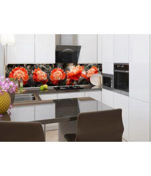 Виниловая наклейка фартук-скинали на кухню Красные пионы 600х2500 мм красный