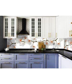 Вінілова наклейка фартук-скінали на кухню Орхідея 02, 600 х 2500 мм білий