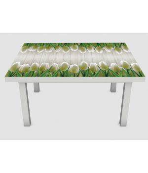 Наклейка на стол Белые тюльпаны, 60х120 см