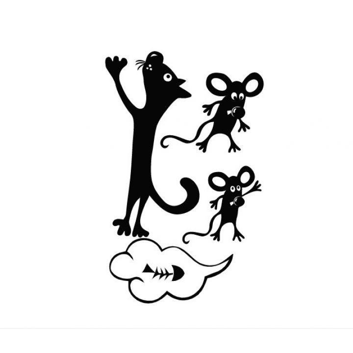 Интерьерная виниловая наклейка на стену и обои Кот и мыши для холодильника