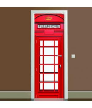 Наклейка на дверь Телефонная будка, 65х200 см