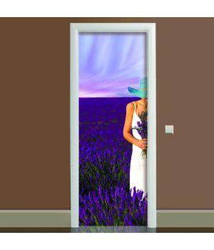 Наклейка на дверь Лаванда, 65х200 см