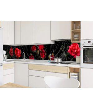 Виниловая наклейка фартук-скинали на кухню Роза Tassin 600х2500 мм красный
