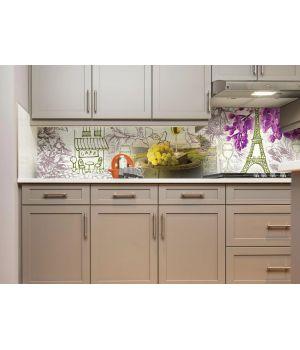 Виниловая наклейка фартук-скинали на кухню Вино и Париж 600х2500 мм белый