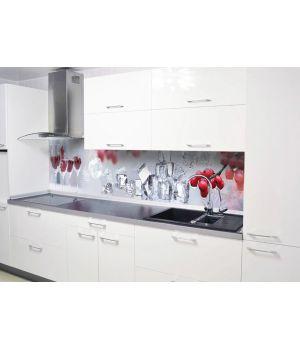 Вінілова наклейка фартук-скінали на кухню Горобина і лід 600х2500 мм червоний
