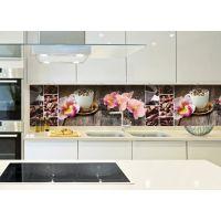 Виниловая наклейка фартук-скинали на кухню Орхидея и сладости 600х2500 мм розовый