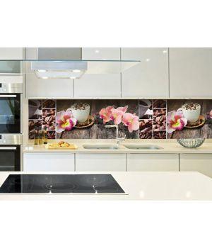 Вінілова наклейка фартук-скінали на кухню Орхідея і солодощі 600х2500 мм рожевий