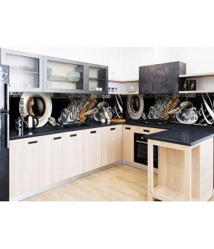 Виниловая наклейка фартук-скинали на кухню Coffee a good idea 600х2500 мм черный