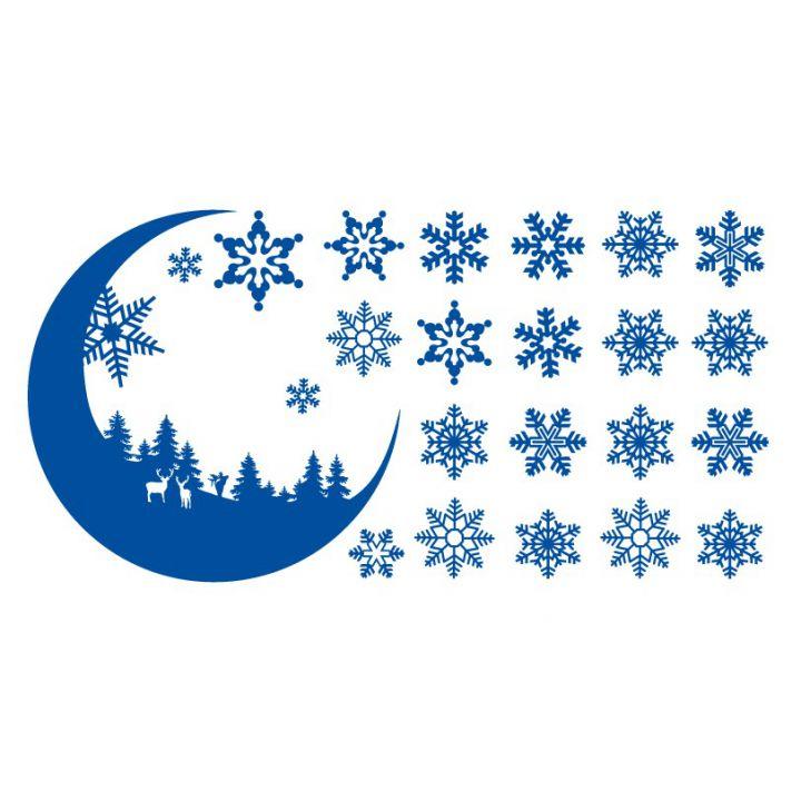 Новогодняя интерьерная наклейка Лунная ночь в зимнем лесу