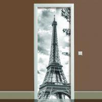 Наклейка на двері чорно-біла Ейфелева вежа, 65х200 см