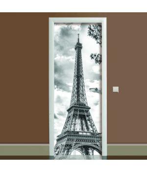 Наклейка на дверь черно-белая Эйфелева башня, 65х200 см
