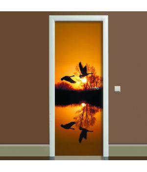 Наклейка на двері Журавлі, 65х200 см